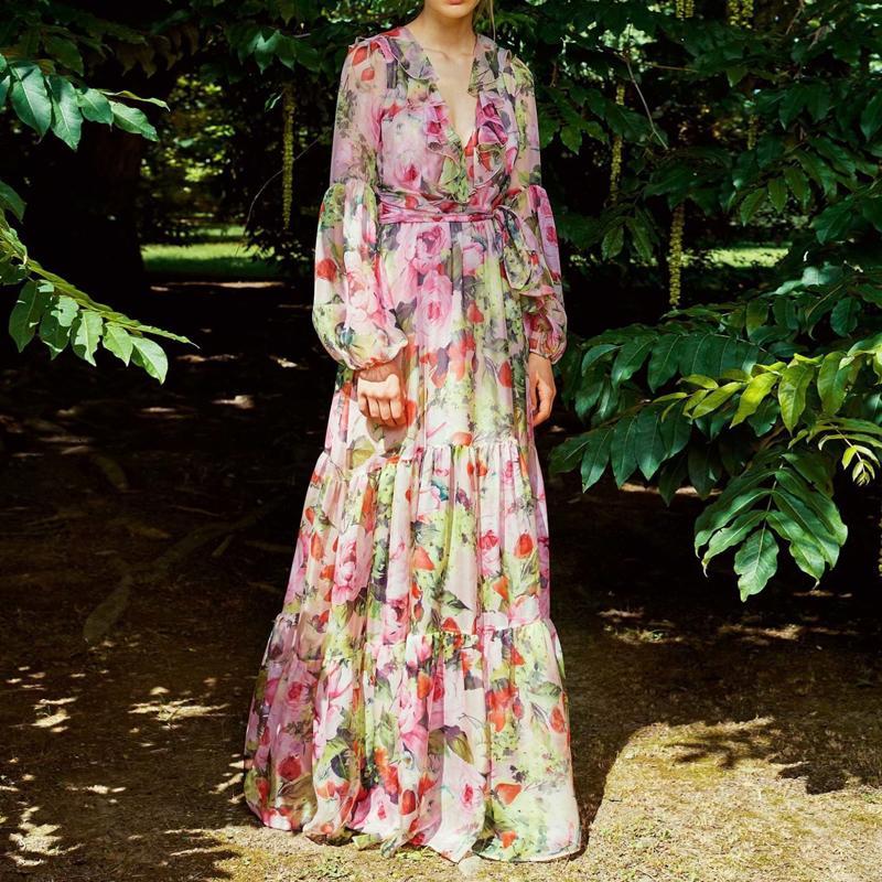 Hohe Qualität Neue Mode 2021 Runway Dress Damen Rüschen Kragen Langarm Blumendruck Chiffon Dresstdey