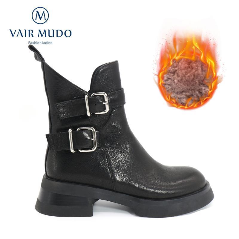 Botas Vair Mudo Tornozle Inverno Mulheres Sapatos de Couro Genuíno Bota de Motocicleta Botão Grosso Redondo Toe De Tee Costura Outono Sólido Cool DX167-C