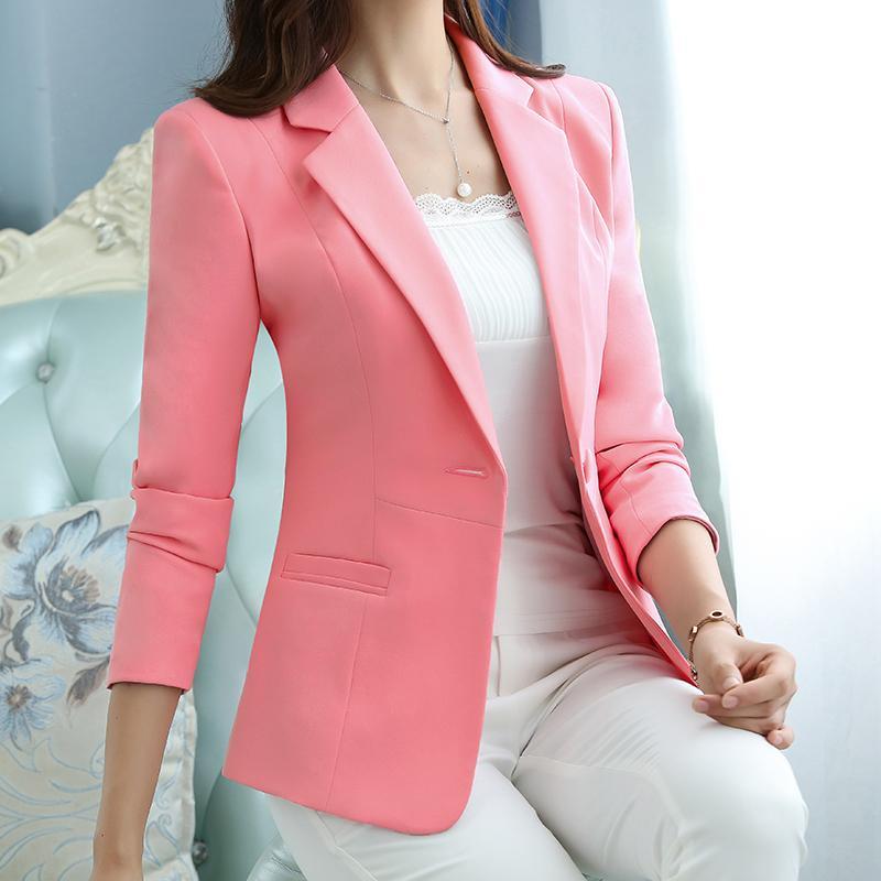 Формальное Outwear Женщины Пиджаки и куртки весна осень одной кнопки Blazer элегантный дамы Blazer Делопроизводство одежда Женский жакет 201007