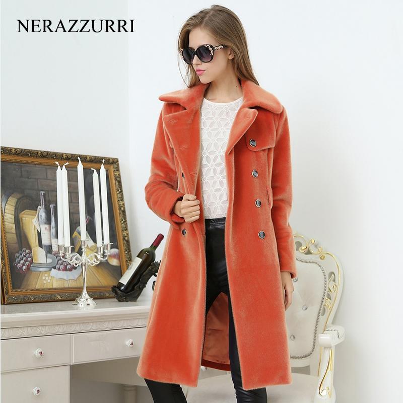 Nerazzurri Long Trench Coat for Women Fashion Otoño Doble Breasted Casual Slim Slim British Style Anaranjado Faux Piel Outcoat 201209