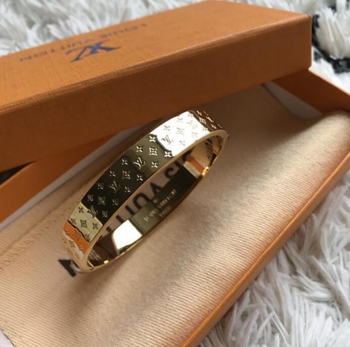 Nanogram Lüks tasarımcı Bilezikler Manşet Rose Gold Gümüş Bileklik kanal Titanyum çelik bilezik Kadınlar Marka Takı 1v