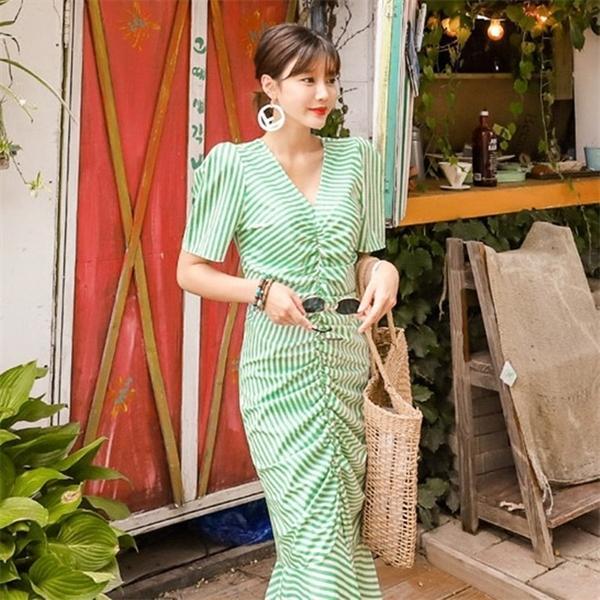 ZAWFL stile coreano elegante temperamento gentile banda dimagrante con scollo a V Vita design a pieghe Puff Sleeve vestito increspato donne C1024