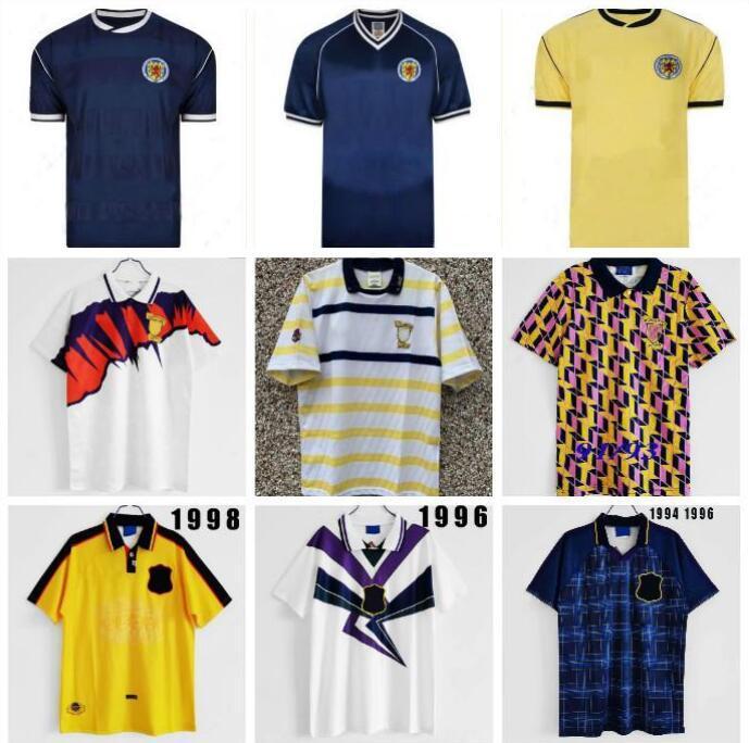 1991 Ecosse rétro Jersey Coupe du Monde Coupe du Monde Home Kits Bleu 96 98 Classic Vintage Scotland Shirt Tops Hendry Lambert