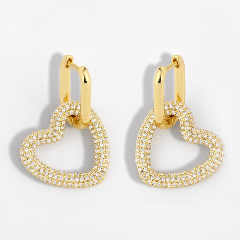 Orecchini di goccia di cuore d'oro per le donne Geometriche Zirconia Huggie Orecchini Dangle Micro Prave Dichiarazione Gioielli all'ingrosso ERSU11