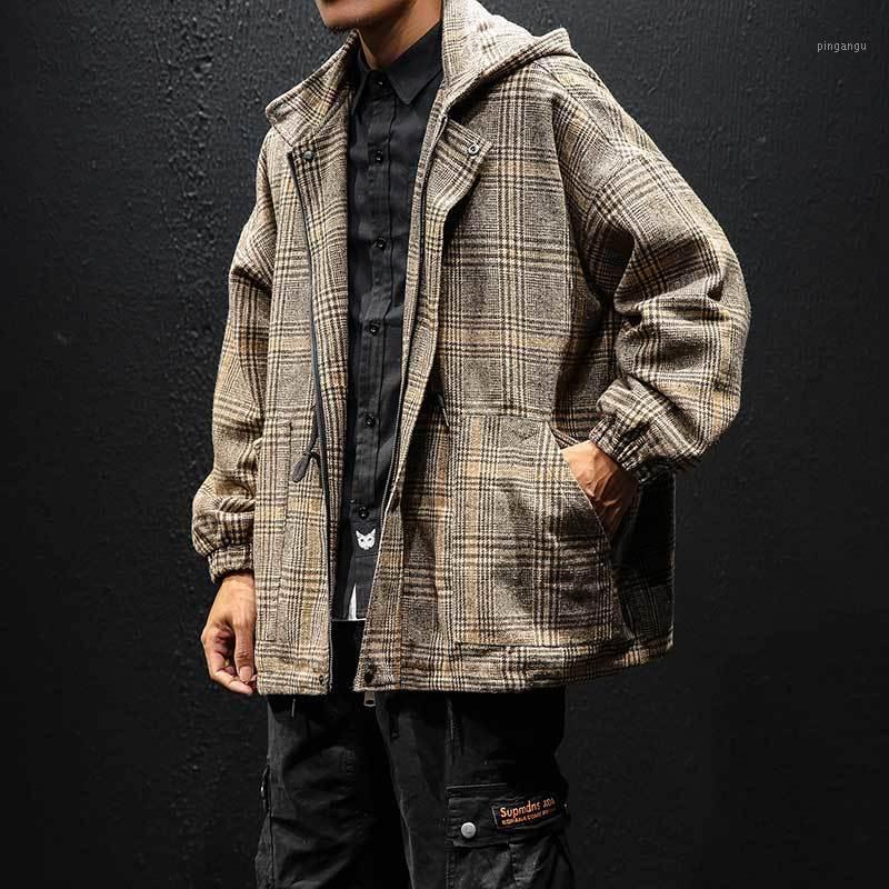 Giacche da uomo giacche plaid giacca da uomo moda retrò casual cappotto con cappuccio uomo uomo streetwear selvaggio hip hop allentato bombardiere da uomo outwear m-3xl1