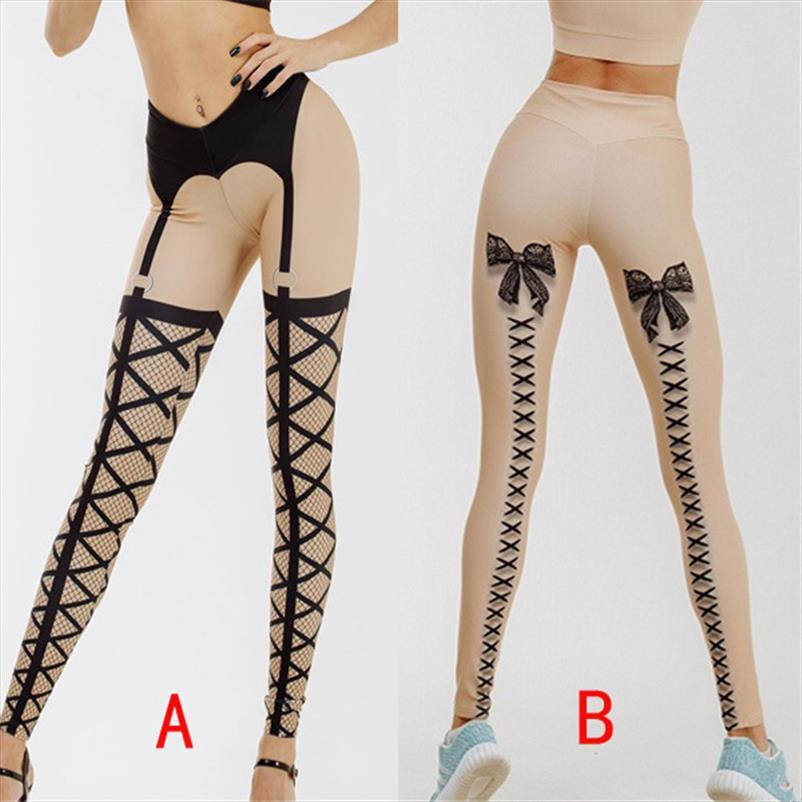 Moda Push Up Leggings Women Workout Leggings Bow Bandage Stampe Sexy Club Dance Leggins Pantaloni a vita alta fitness sportivo