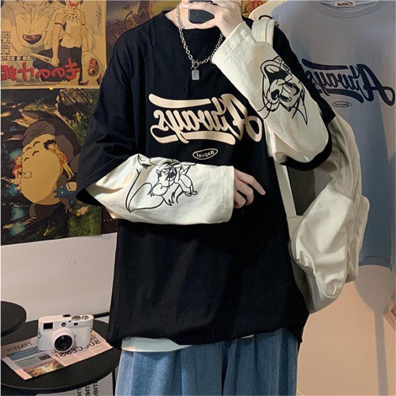 Pareja Hip Hop Japón Negro camisetas Hombres Mujeres otoño de manga larga floja de gran tamaño Tops Los hombres floja ocasional remiendo camiseta masculina C1021