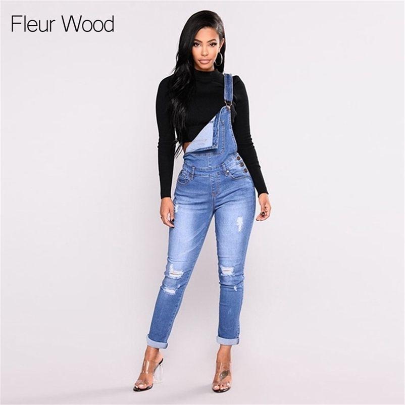 Fleur Wood Bab Babero adelgazante Denim para las mujeres Plus Talla Stretch Fally Flacny Jeans Pantalones Vaqueros Mujer 201225
