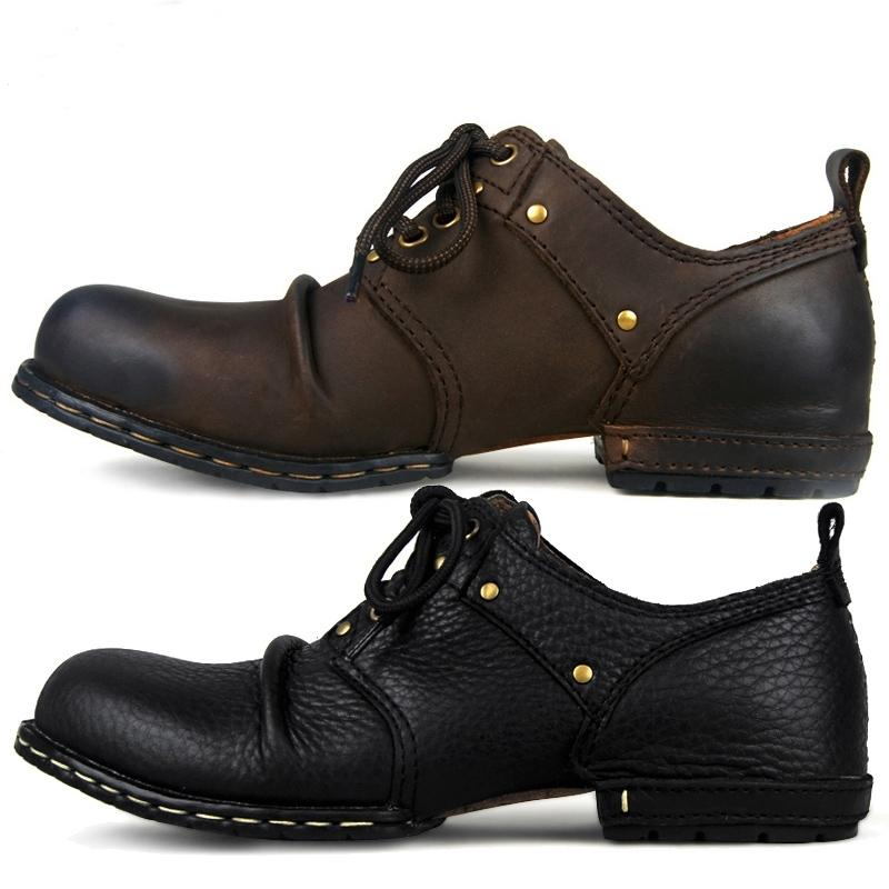 Otto Zone faite à la main Véritable Veau Cuir Bottines Bottines Mode Hommes Chaussures Chaussures Rivet Chaussures plates Casual Chaussures à lacets, Meilleure qualité LJ201028