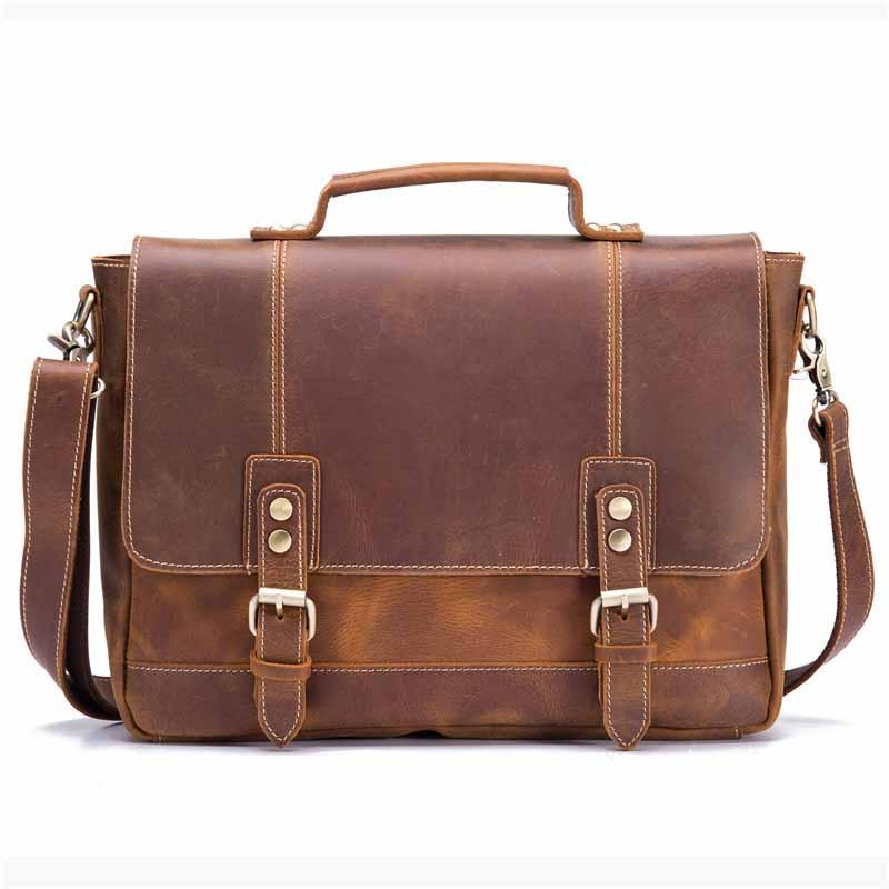 Laptop Handtaschen Tasche Mann Echtes Leder Business Vintage Aktentasche Herren Tote Umhängetaschen 100% Reisen Männliche Messenger Crossbody Cdkxi