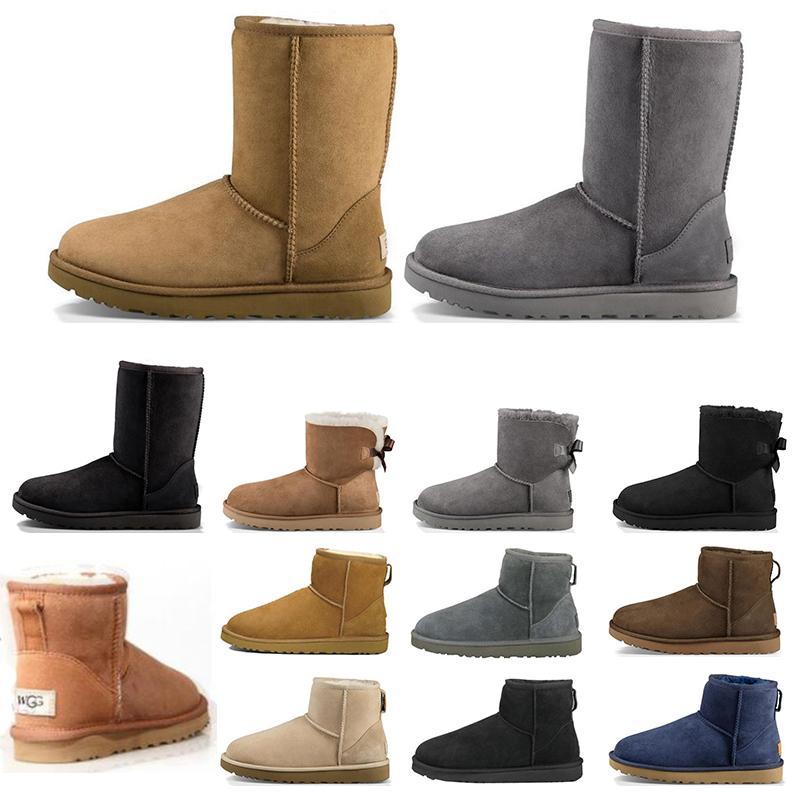 boots Kadın çizmeler Kısa Mini Diz Uzun Kış Kar Botları Tasarımcı Bailey Yay Ayak Bileği Papyon Siyah Gri kestane kırmızı b ...