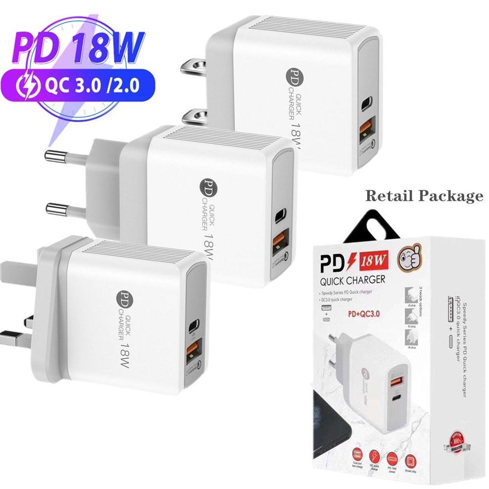 18W PD + QC3.0 USB C-Ladegerät Lade-Schnell-Wand-Energien-Adapter-Wand-Ladegerät EU UK US-Stecker für Samsung 12 12PRO 11 11Pro Wandaufladeeinheiten