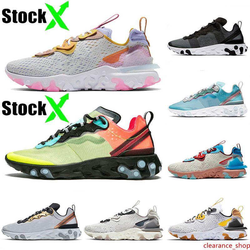 De calidad superior 2020 EPIC Reaccionar Visión Hombres Mujeres zapatos para correr azafrán Olt Racer Rosa Reaccionar Element 55 87 Royal tinte metálico Entrenadores zapatillas de deporte