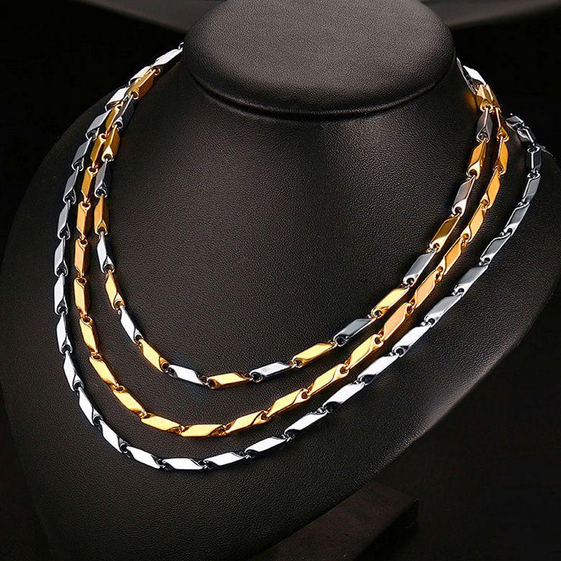acero inoxidable joya de la manera collar de hombres collares mujeres collar 18k Cadenas de oro de titanio Collar de cadenas de lujo del hombre Collares 03