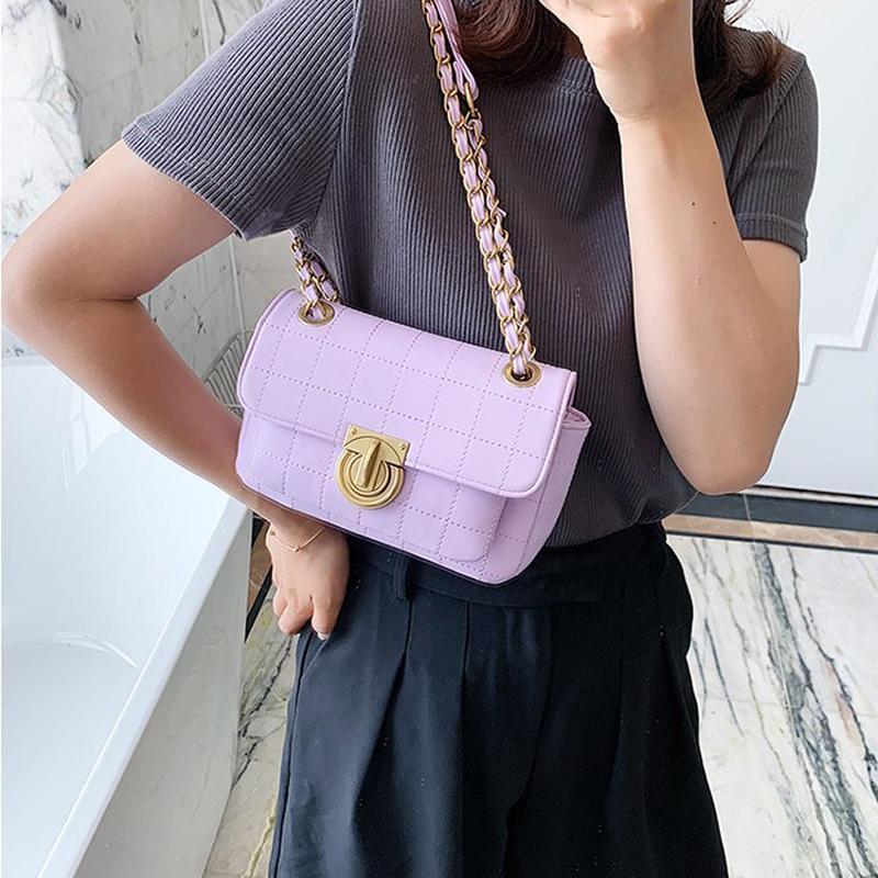 Mini basit pu deri tote çanta kadınlar için 2020 katı renk zincir kilidi omuz çanta kadın seyahat moda crossbody çanta