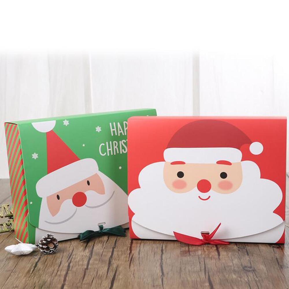 La víspera de Navidad de Santa Claus Gran Hada Diseño Kraft Papercard que partido presente regalo del favor de la Actividad Red Box verdes paquete cajas de DHL BWF2189