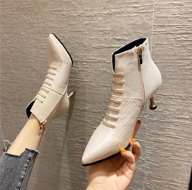 Обнаженные сапоги 2020 осенью и зима новые высокие каблуки указанные настойчивые ботинки женские ботильоны