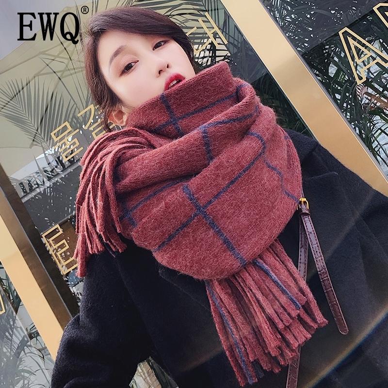 [EWQ] Зимняя плэк для плывущей плывут лоскутное держите теплый вязание длинные клетки корея мода шарф женщина шерсть спиннинг 19C-A17-02-0 y201024