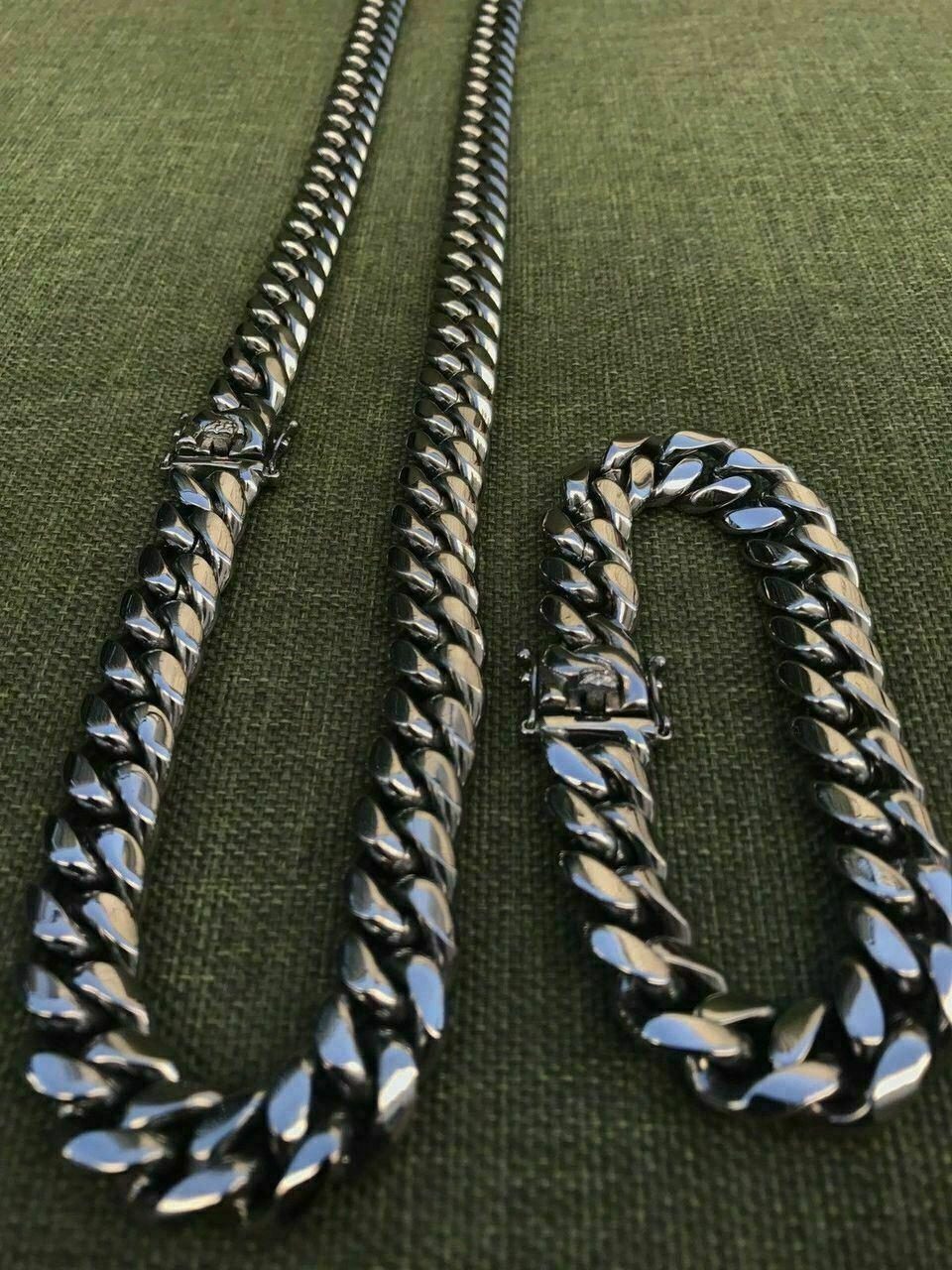 12mm Erkek Miami Küba Link Bilezik Zincir Seti Paslanmaz Çelik Gibi Gibi Gibi