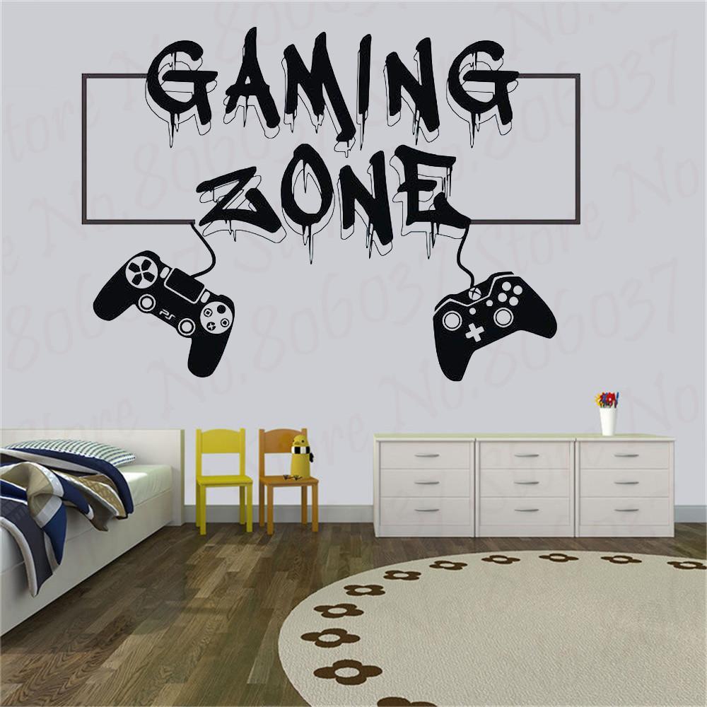 게이머 벽 데칼 게임 영역 먹는 수면 게임 컨트롤러 비디오 게임 벽 데칼 어린이 침실 비닐 벽 데칼 WL911 LJ201128