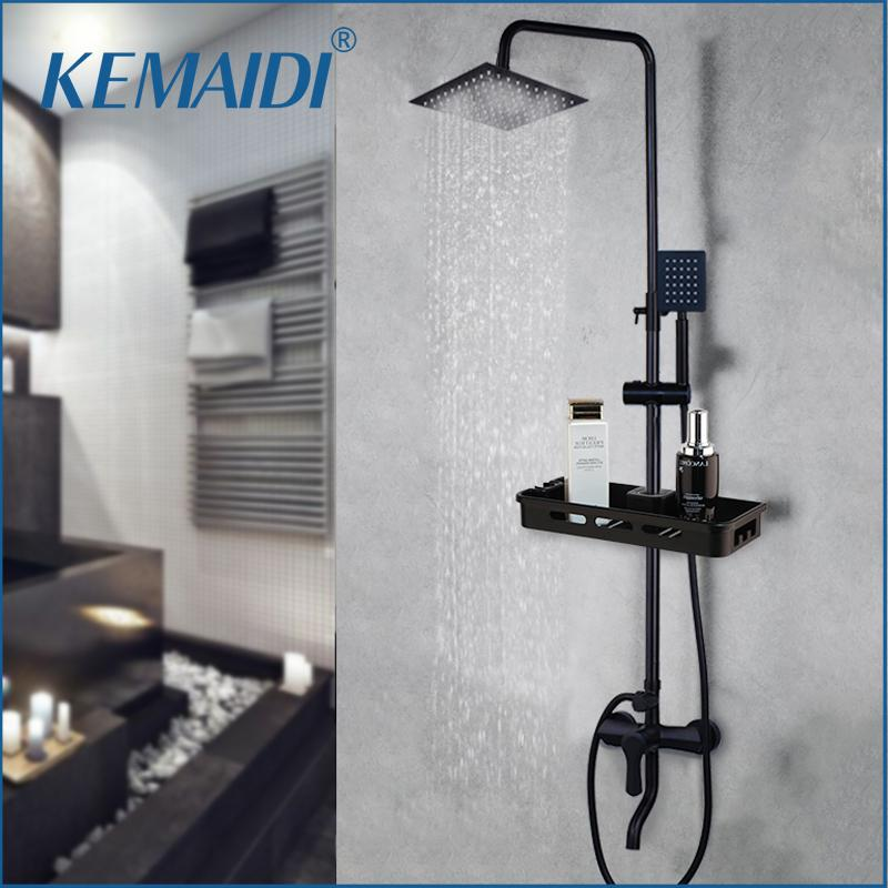 KEMIDI Mate Negro Las precipitaciones grifo de la ducha monomando de bañera de ducha Grifo mezclador de la ducha Estante de almacenamiento agua del grifo 1011