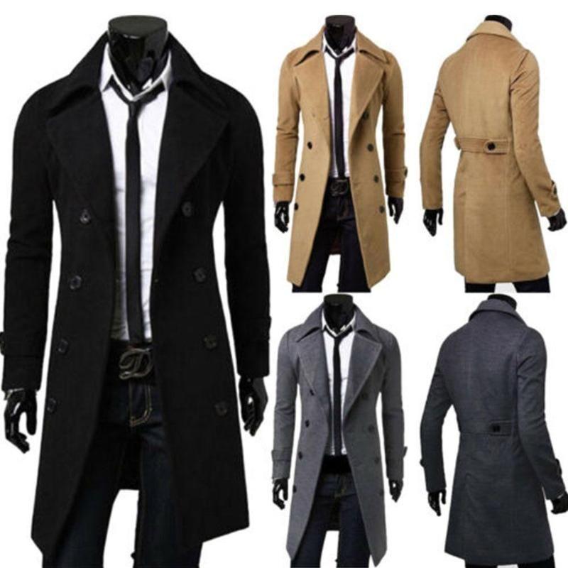 Herrenmode Jacke warme Winter Trench Outwear lang Knopf Smart-Overcoat Street windundurchlässiges Overcoat