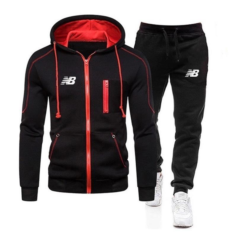 2020 Бренд молния толстовки Sportswear Tracksuits 2 шт. Мужские толстовки + брюки Устанавливает мужские улицы Устройства одежды Куртки
