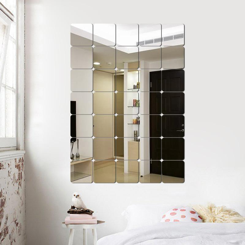 6pcs / set Espejo etiqueta de la pared 3D cuadrado redondeado espejo de acrílico de bricolaje decoración de la pared pegatinas para baño dormitorio principal decoración del arte