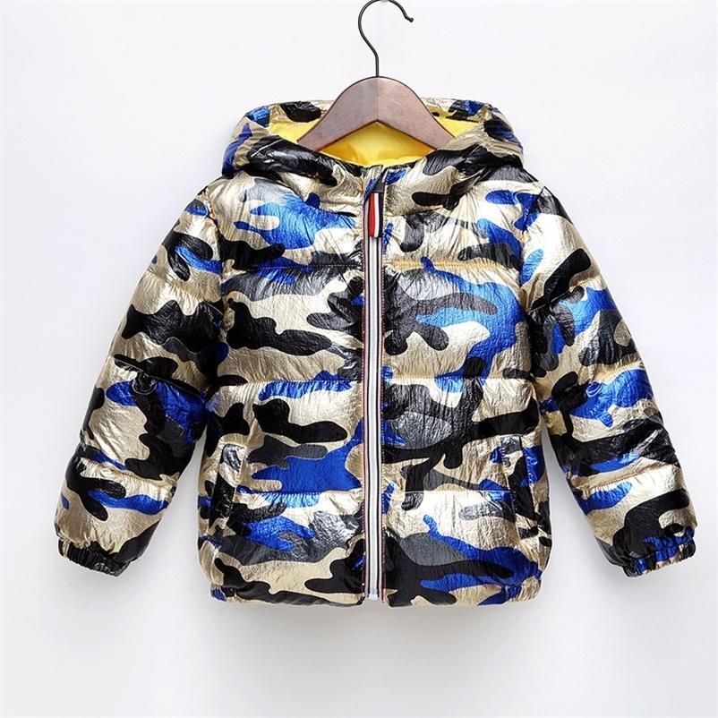 Novo bebê menina meninos jaqueta outono inverno roupas crianças aquecer grosso casaco com capuz crianças outerwear roupa criança camuflagem 201209