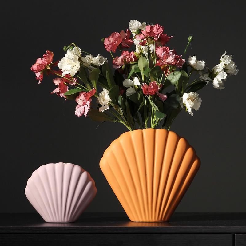 art shell vase creative ceramic decoration modern minimalist home decoration vase for wedding decoration