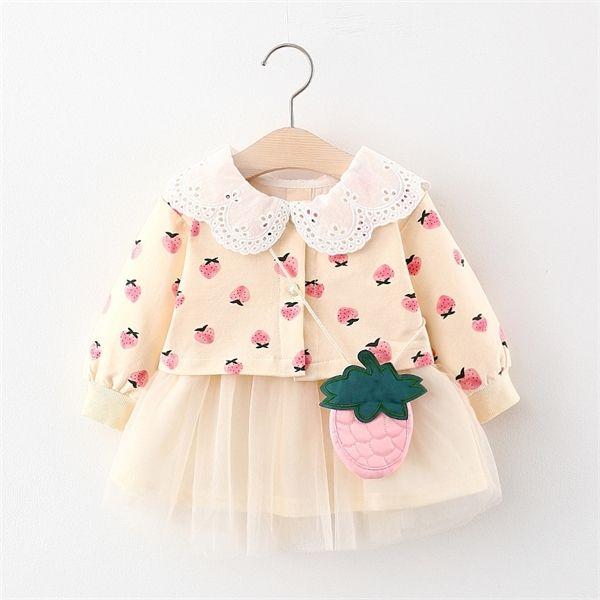 2020 otoño infantil de la niña de ropa de vestir manga larga de los vestidos de princesa vestidos casuales para niños pequeños para niñas cumpleaños de la ropa 1027