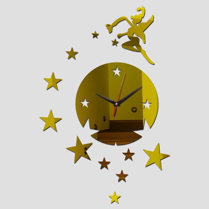 Melek Kız Akrilik Saatler Duvar Etiketler Diy Ayna Saat Salon Geometrik İğne Kuvars Modern Tasarım İzle 3d