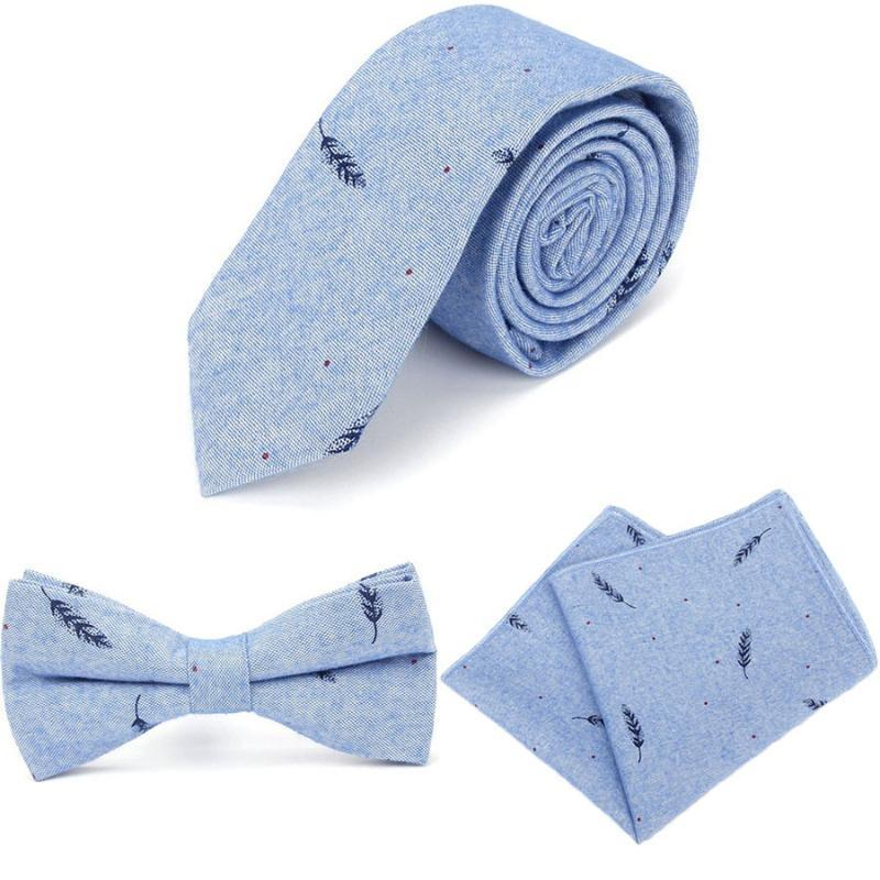 Mens Fashion Ties for Men Bowtie Hankerchief Cotton Printed Skinny Men Casual Wedding Party Neckties Shirt Accessories Neckwear