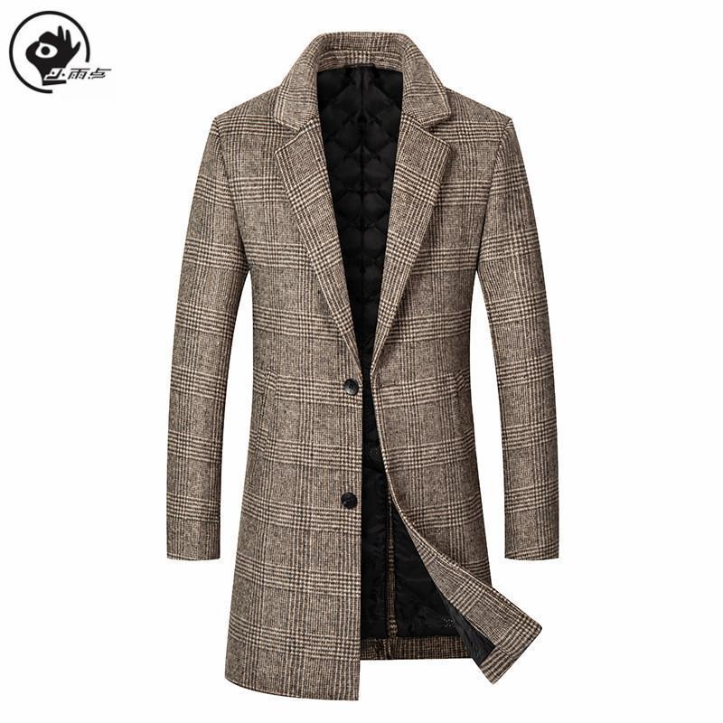 Little Rain lana del rivestimento degli uomini Cappotto Mens Plaid Miscela cappotto lungo spesso Windbreaker Outwear maschile Affari cappotto invernale
