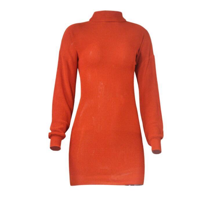 Yeni Varış Bayan Rahat Kaplumbağa Boyun Uzun Kollu Bodycon Kazak Seksi Elbise Sokak Tarzı Elbiseler Örme Yün Gömlek Etek Boyutu S-XL