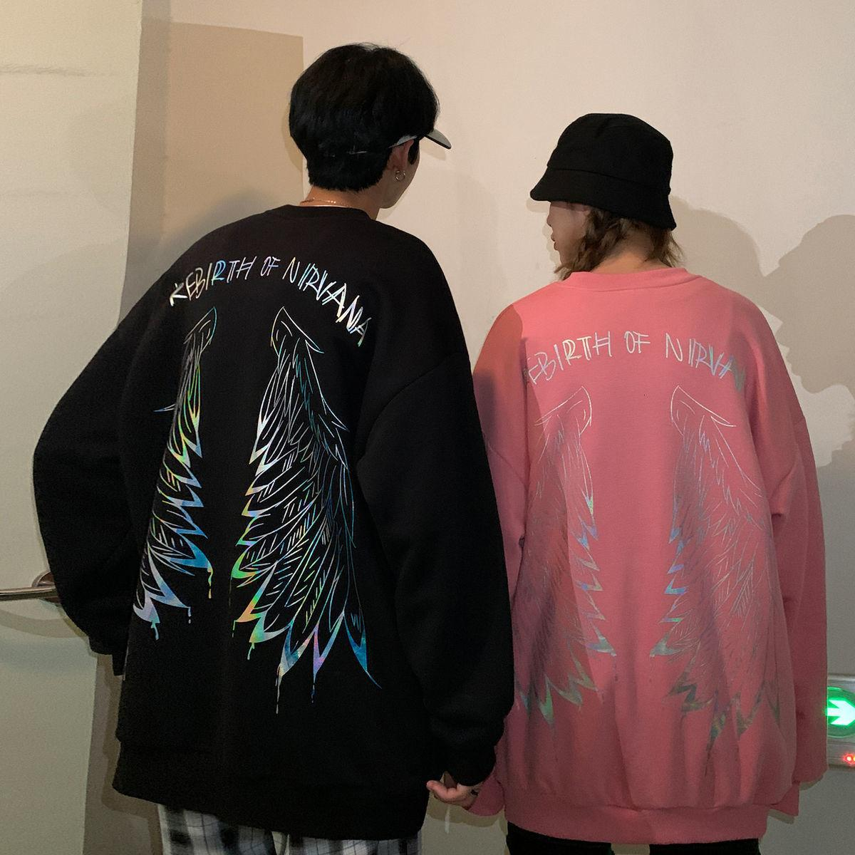 Privathinker Hip Hop Streetwear Sweat-shirts Reflective hommes Couple d'automne 2020 Femmes surdimensionnée Sweats à capuche homme overs Casual