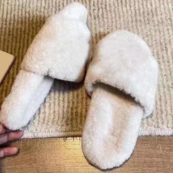 2020-signore di lana di pecora invernali pantofola caldi pelliccia un pezzo di lana di agnello e piatti in gomma resistente all'usura confortevole pantofole 35-46 con la scatola