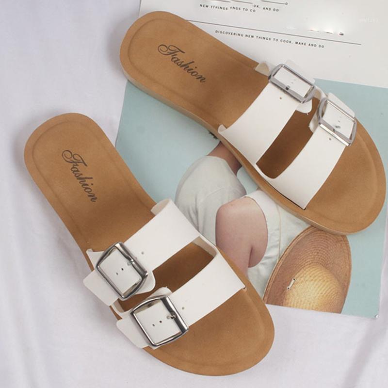 Women Double Buckles shoes 2020 New bohemian Summer Casual Slides Slipper Beach Shoes sandalias plataforma mujer#03161