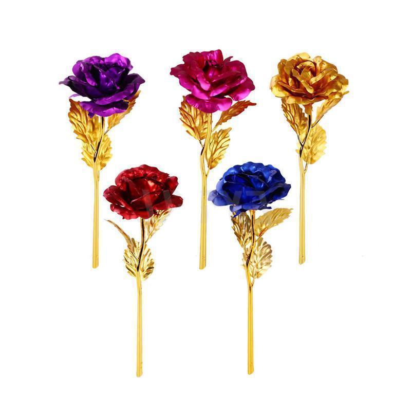 Мода 24K Золотая фольга Ploged Rose Creative Gifts Длится вечно Роуз для Любовника Свадьба Валентина День Святого Валентина Подарки Украшение дома