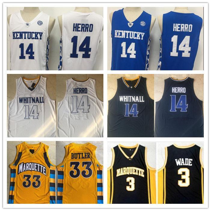 NCAA Kentucky Wildcats Tyler Herro 14 college maglie magliette WhitnallStitched Marquette Jimmy Marquette Golden Eagles Wade Butler