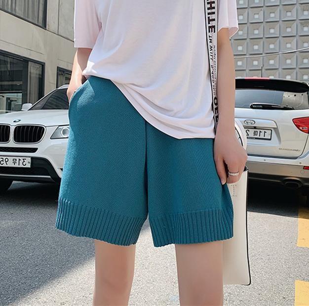 Pantalones Casual Harajuku mujeres feas altura de la cintura corta floja de seda del hielo del verano de tejer Pantalones cortos