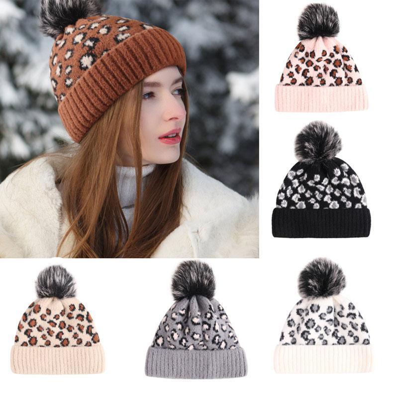 Nuovi autunno ed inverno di copertura del cappello di leopardo femmina di pecora Lana Jacquard Cappellino della sfera delle lane di lana caldo