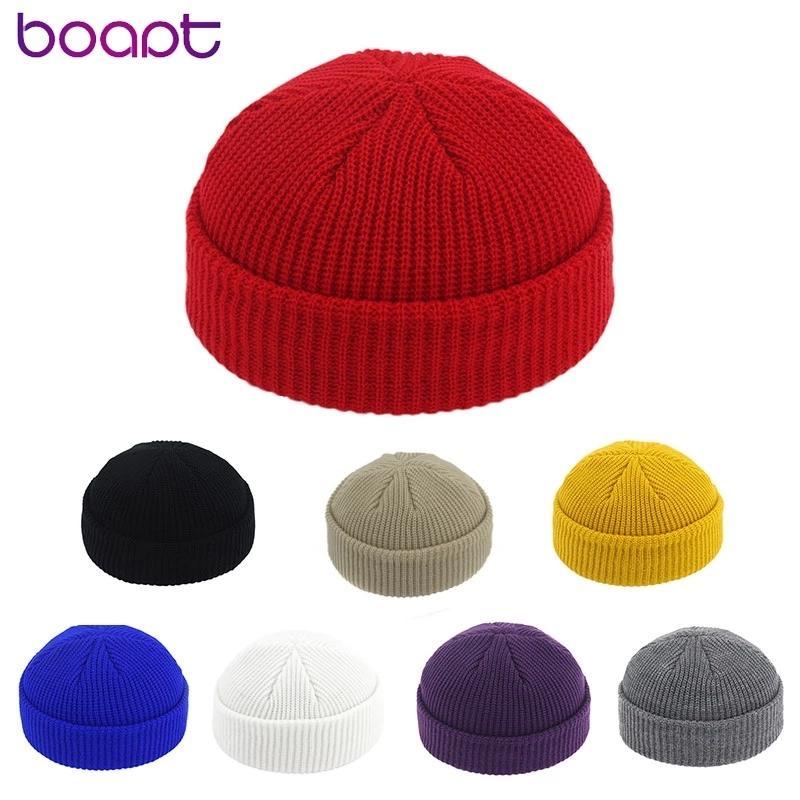 Новый Unisex Beanie Hat Ribled вязаная манжета зимняя шляпа теплая короткая пеночка повседневная сплошная цветная шкуркап мешковатый для взрослых мужчин Beanie C0115