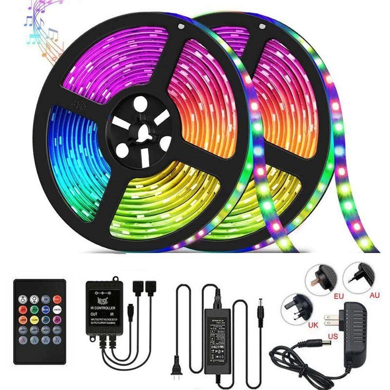 Musique LED Strip Light RGB SMD 5050 Diode Ruban flexible 5M 10M Bande LED Set complet avec contrôle de la musique à distance
