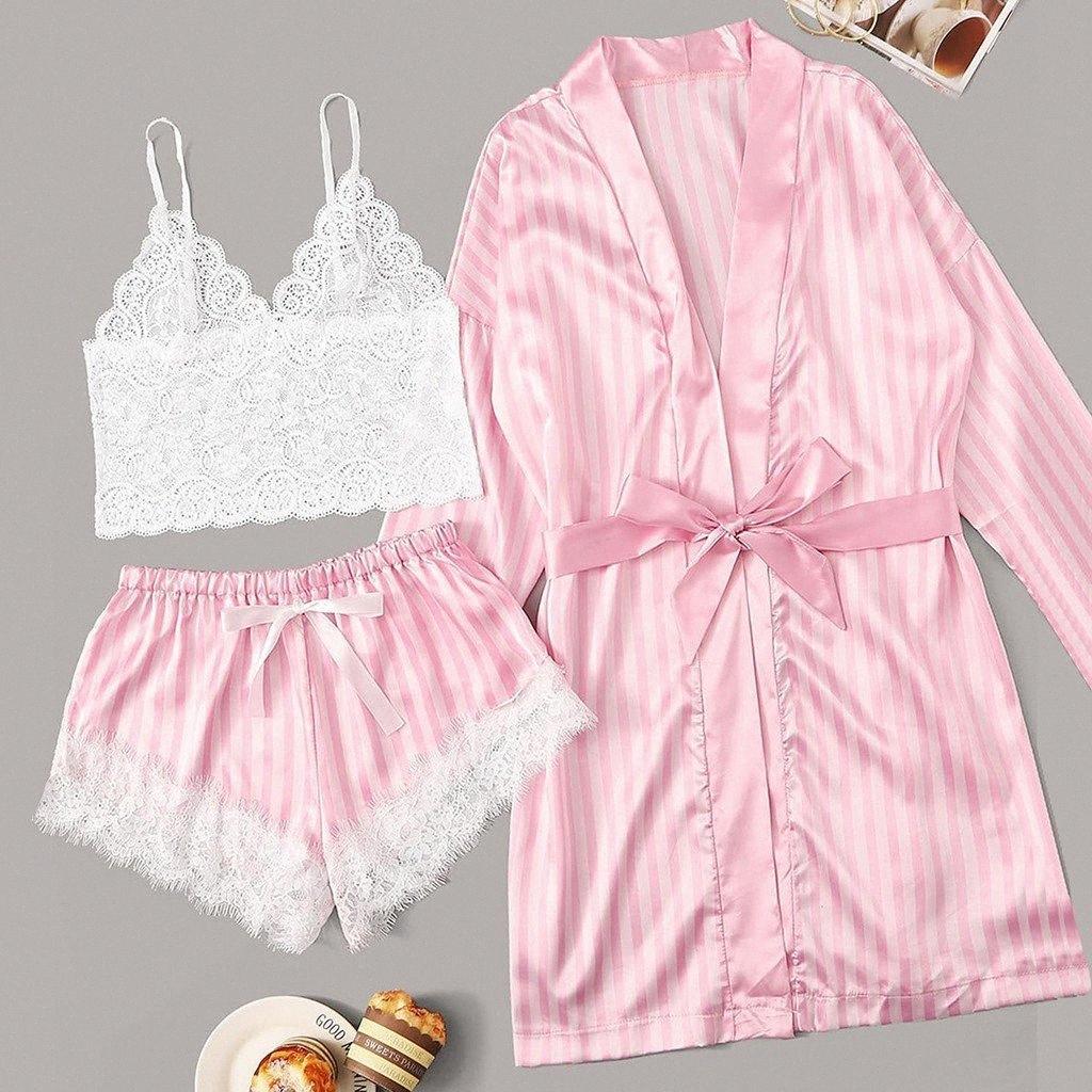 3 Pcs Mulheres Lingerie Lace Bra cetim sem fio Camisole Shorts Pijamas macio Pijamas Stripe Robe pijama mujer 2020 Y200425 83H5 #