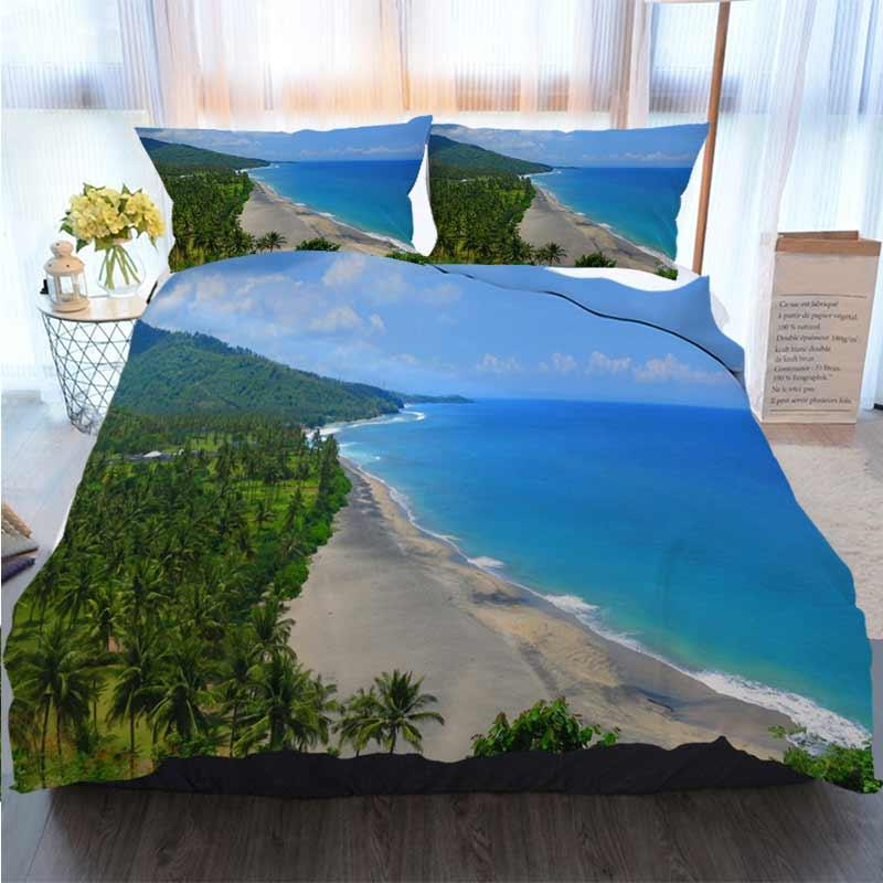 Bettwäsche 3 Stück Bettbezug Sets Schöne Lush Lombok Strand Pantai Nipah Crystal Blue Waters Quilt Bettwäsche Tröster Bettwäsche-Sets