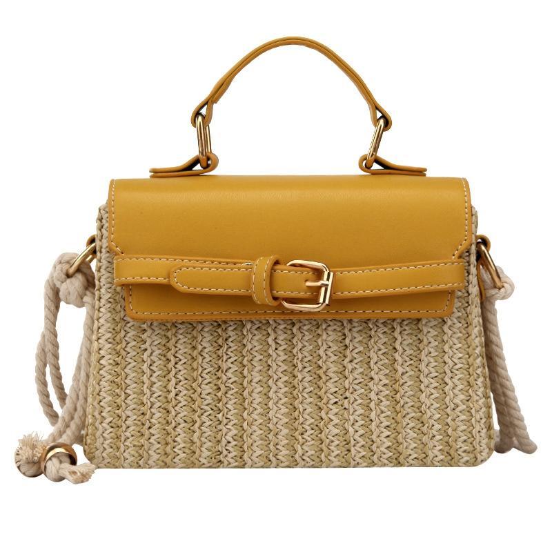 Moda de paja pequeña y viajes para mujer Crossbody Bolsas amarillas Nuevas bolsos Bolsos femeninos Bolsas de Mensajero VERANO MXAXX RGSEO