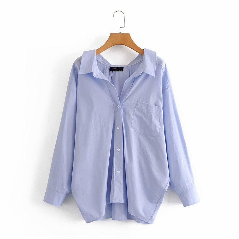 Evier Femmes Casual ZA Bleu Lâche Poplin Chemises surdimensionnées Tops Mesdames Mode manches longues à manches longues Collier Collier 201126