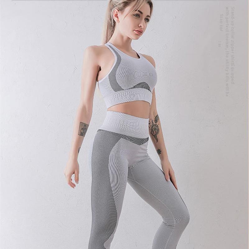 Trajes de yoga Mujeres inconsútiles Conjunto de fitness Ropa de fitness Gimnasio Alto Gimnasio Leggings + Pulsado acolchado Sujetador deportivo Running Sportswear Traje de la pista
