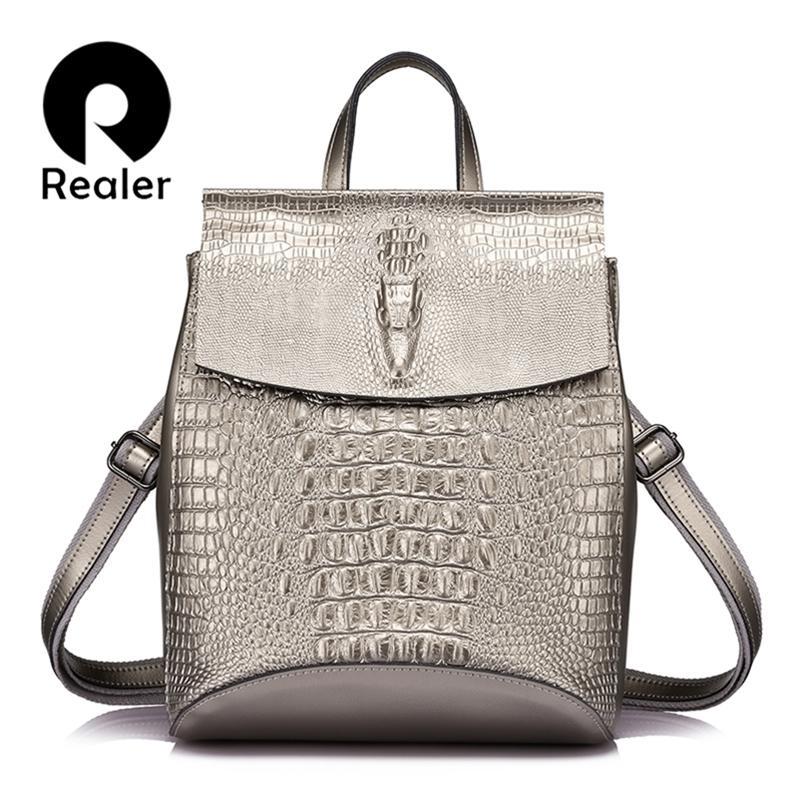Mode plus réel Femmes Sac à dos Sac à dos Haute Qualité En Cuir Split Bandoulière Crocodile Imprimer Grand sac multifonctionnel Y201224